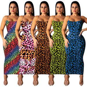 Été Spaghetti Strap Leopard moulantes Robes Femmes Desinger manches Casual Robes Femme contraste vêtements sexy couleur