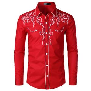 Mens Stickerei Designer-Kleid Hemd Art und Weise lange drehen unten Kragen Langarm