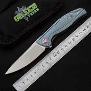 الأخضر شوكة f7 أفضل جيب سكين تحمل M390 الطي بليد tc4 التيتانيوم outdoor edc التخييم التنزه الصيد الصيد السكاكين أدوات بقاء
