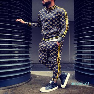 fashion-New 3D color plaid sports zipper suit autumn sportswear suit men sweatshirt running jacket men sportswear gym