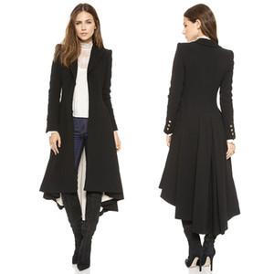 Yaxez 2018 Mujeres Plus Size Long Goth Coat Otoño invierno swallowtail Black Trench de lana plisada Dovetail 5XL 6XL Outwear femenina