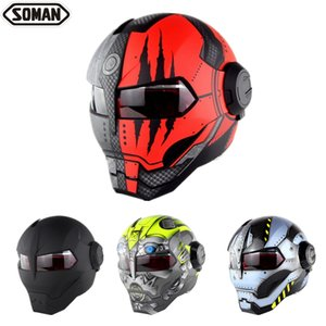 SOMAN Iron Man capacete virar para cima do capacete da motocicleta do robô Estilo Motor Bike Casco Casque DOT aprovação SM515 Arrefecer Capacetes 515