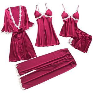 Sleepwear Women Sexy Lingerie di pizzo Nightwear Plus Size Pigiama Donna V-Neck Nighty Dress 5PC Vestito domestico Abito di seta Kimono femminile