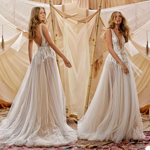 2021 Berta Wedding Dresses A Line Deep V Neck Lace Appliqued Backless Bohemian Wedding Dress Custom Made Boho Bridal Gowns Sexy