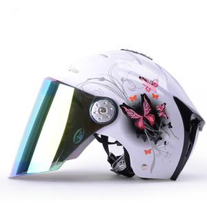 الخوذات نصف دراجة نارية دراجات كهربائية ركوب خوذة أنثى المضادة للأشعة فوق البنفسجية واقية من الشمس الملونة Cycying سلامة نصف MOTO خوذة