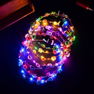 Venta al por mayor Partido de la venda de la flor LED Light Up Hair Wreath Hairband Guirnaldas Mujeres niños Halloween Navidad Glowing Wreath Party Supplies