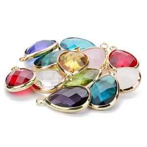 Su Damlası Charms Kuvars Kristal Opal Mavi Mor Birthstone Kolye Kolye Bilezik DIY Takı Konnektörleri için