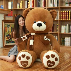 80/100 센치 메터 4 색 곰 스카프 인형 동물 곰 봉제 장난감 곰 인형 연인 생일 아기 선물