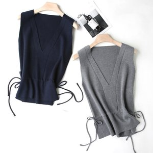 2019 Spring And Autumn Horse Clip V Neck Short Vest Casual Loose Pure Knitted Vest