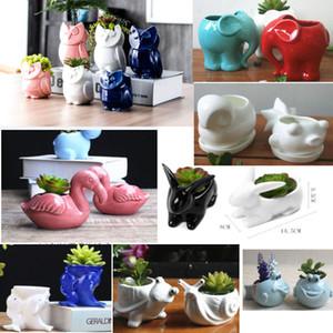16 estilos de plantador de cerâmica vaso de plantas para os dentes dos animais fox coruja porco casa e escritório desktop janelas decoração para o casamento de natal hh9-2277