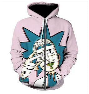 Nova Moda Unissex camisola hoodies Homens Mulheres Rick e Morty Moletons Harajuku Oversized ZIPPER roupas casaco