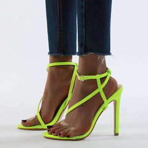 chic fluorecent grün schmalbandigen Knöchel Riemchen-High Heels Sandalen Luxus Frauen Sandalen Größe 35 bis 40