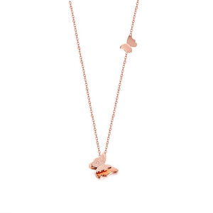 Trendy Pink Gold Tone Choker Necklace Stainless Steel Butterfly Pendant Femme Collar Birthday Gifts