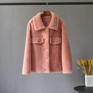 2019 Parka Winterjacke aus 100% gewebter Wolle Teddy Polar Fleece Bären-Plüsch-Oberbekleidung Warm Street Frauen realer Pelz-Mantel