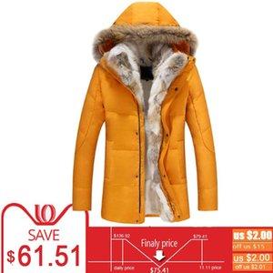 Espesor del pato abajo de la chaqueta con capucha de lana invierno de los hombres de línea macho Long Parkas Mujeres piel de la pluma collar rompevientos capas de nieve