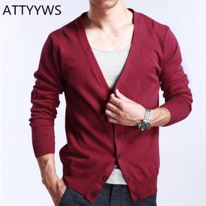 ATTYYWS hommes Cardigan en maille 2019 Nouveau mode cachemire Casual Slim Pull col V Confortable Vestes en tricot Plus Size Homme