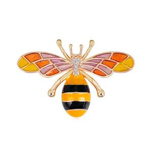 Flor Moda Bee Broches pinos para Mulheres Shinning cristal gota de óleo de marca de jóias broche Wedding Designer Acessórios Boutonniere