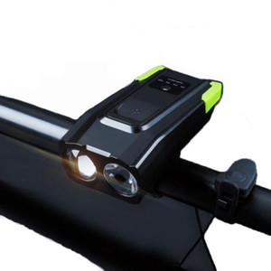 USB Rechargeable Bicycle Lamp with Horn 2 LED BikeFront Light 6 Lighting Modes Cycling Headlight Camping Waterproof Flashlight