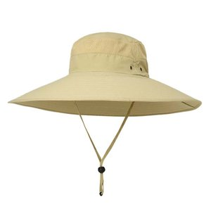 Fishing Bucket Cap Cotton Nylon Long Wide Brim Breathable Adjustable Sunshade Sun Hat With String Outdoor Travel Hiking Camping