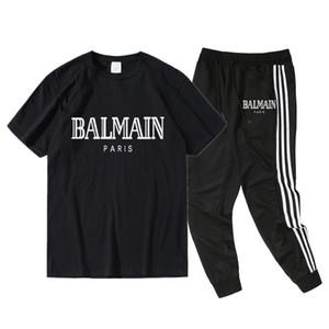 G2Balmain Designer 2020 T-shirt Treino Mulheres Homens + calças Mens Clothing moleton Casual tênis Fatos Sweat Suits