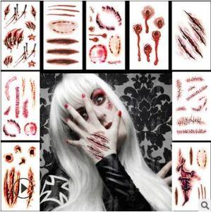Halloween Horrible Шрама Царапина Поддельного Заживление стежок татуировка наклейка смешивать стили Водонепроницаемой Временных татуировок Татуировка Body Art HA220