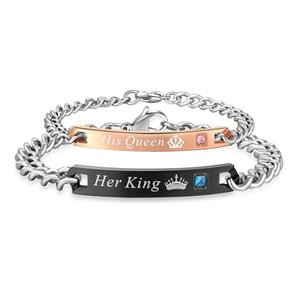 DIY Her King His Queen Couple Bracelets Stainless Steel Crytal Crown Charm Bracelets For Women Men Drop Shipping
