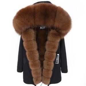 parka ceket kadınlar casaco feminino casacos de invernoabrigo mujer2019 yeni Gerçek Kürk Yaka Kış Coat Kadın Ceket Artı velv