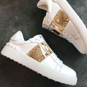 valentinos shoes  2020 luxury neue White Leder Offene Sneaker mit blauem Band NY0S0830 BLU G62 Trainer-Turnschuhe