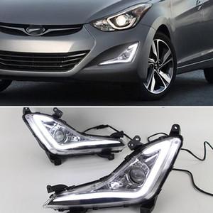 1 Çifti LED DRL Gündüz 2015 Avante 2014 Hyundai Elantra için hafif sis lambası çerçevesi Sis lambası sürüş ışık gün ışığı çalıştıran