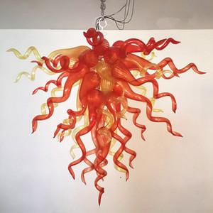 """Décoration en verre de Murano Lustre LED Lampe suspendue 36"""" en verre soufflé orange Ambre colorisée contemporain Lustre-L"""