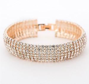 Горячие продажи Gold / Silver EA популярное браслет Браслет алмазным хрустальным горный браслет Браслет с бриллиантами 7 Радиан ряд свадебные аксессуары