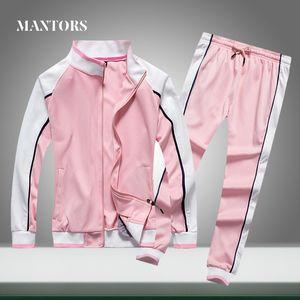 New Men Tracksuit Solid Stripe Casual Sets Men's Sportswear Jacket+Pants Two Piece Sets 2020 Autumn Male Sporting Suit Slim Fit T200707