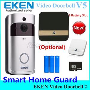 EKEN فيديو واي فاي جرس الباب V5 سمارت هوم جرس الباب الرنين 720P HD كاميرا الفيديو في الوقت الحقيقي في اتجاهين ليلة الرؤية الصوت PIR كشف الحركة 10PCS