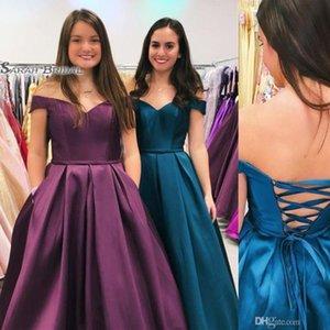 Сексуальные карманы с открытыми плечами зашнуровать платья выпускного вечера Vestidos De Festa Вечернее платье Горячие продажи