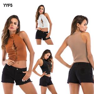 Tasarımcı sapan kolsuz yelek kadın yaz giyim çapraz kayış seksi örme dibe gömlek womens