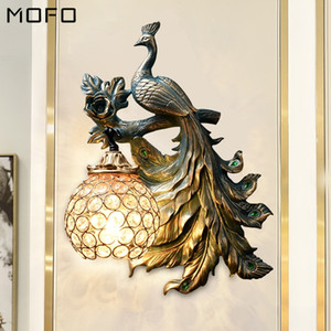 America Vintage Peacock Wall Lamp Modern Resin Sconce for Living Room Industrial Decor Corridor Wall Sconce Lamp Vanity Light