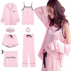 Pijama de rayas rosa Conjunto de pijama de satén de seda de mujer 7 piezas Stitch Lingerie Robe Pijamas Mujeres Ropa de dormir Pjs Y19071901
