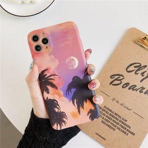 Dreamlike Sunset Glow Pembe Gül Bulut Hindistan cevizi Palm Cep Telefonu Kılıfı için iphone 11 pro max 7 8 artı x xr