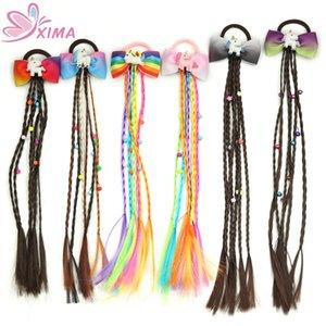 1PC Women Elastic Hair Band Twist Wig Headband Bohemian Braided Headband Kid Hair Bows Hair Clip Headwear
