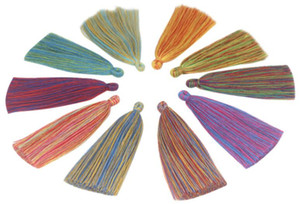 10pc lot 13CM Hand made cotton cord woven colorful tassel spike hanging ear DIY bracelet accessories Tool Jewelry Findings Components D047