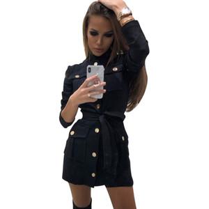 Mvgirlru Женщины Черное платье с длинным рукавом Стенд воротник Пояса платье кнопки дизайн карманы прямые платья Y19052901
