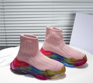 nude pink sweet style Frauen Männer lovers Übergroße Socken-Turnschuhe mit transparenter Regenbogen-Farbsohle bequeme Casual Runners Sock Boots