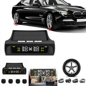 LCD Wireless TPMS Solar Power Tire Pressure Monitoring System 4 External Sensors