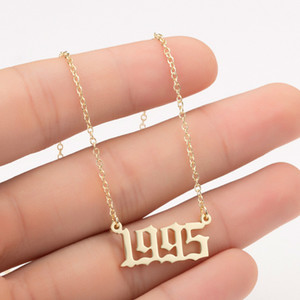 Personalized Handmade Year Number Necklaces Custom Birth Year Necklace Initial Pendants For Women Girls Special Jewelry Year 1980-2019