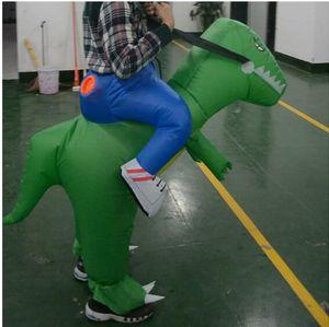 Yeşil Şişme Dinozor Kostüm Cosplay Fan İşletilen Hayvan Dino Riders T - Rex Kostüm Partisi Cadılar Bayramı Partisi Kostüm Cadılar Bayramı Kostüm