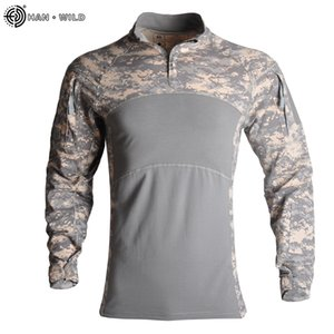 HAN WILD Outdoor Hunting Shirt Clothing Camouflage Uniform Combat Tactical Frog Suit Hiking Sniper Shirt Jersey