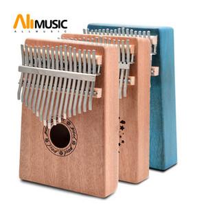 Keys Kalimba Thumb Piano Mahogany Body Musical Instrument 17 Keys Kalimba Natural Colour Blue