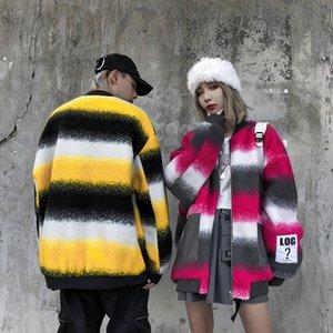 Зима Толстых Velvet Полосатого Контраст цвет Tie-краситель Parka мужчины и женщины дряблой Теплый хлопка-проложенного пальто Негабаритных дряблая Jacket