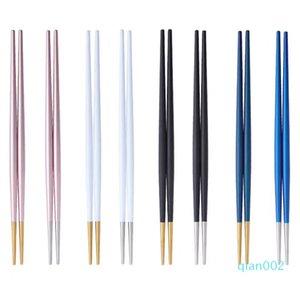 INS Sushi Chopsticks Chic Titanium Edelstahl Doppel Tipp Chopsticks Restaurant Home Hotel Sushi Nudeln Wiederverwendbare Stäbchen