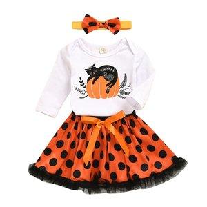 Halloween kids girls clothing sets long sleeve pumpkin print t-shirts + dot tutu skirts + headbands 3pcs set children outfits M2231